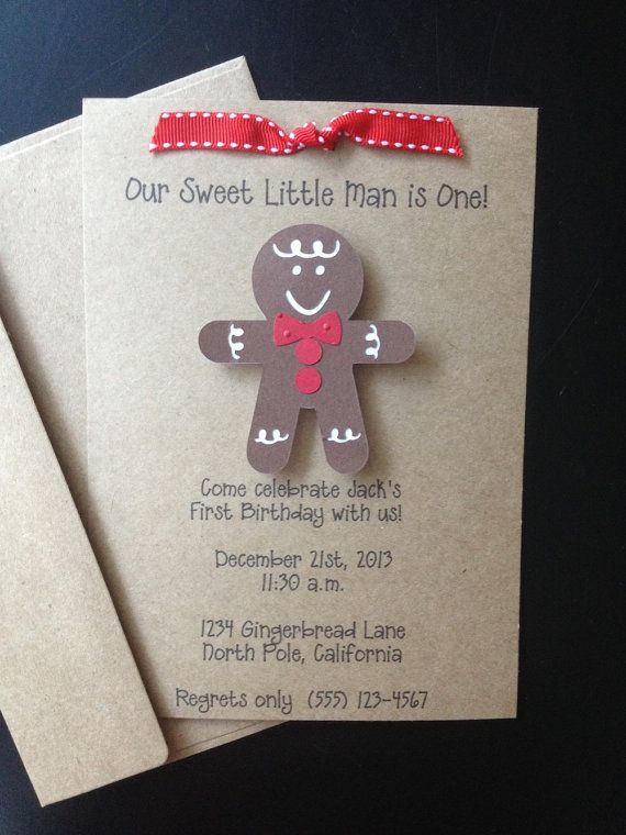 Gingerbread Boy Handmade Invitations, Custom Made for Birthday Party, Christmas Baby Shower on Kraft PaperKraft Paper, Christmas Baby Shower, Birthday Parties, 1St Birthday Gingerbread Man, Handmade Invitations, Gingerbread House, Gingerbread Boys, Boys Handmade, Christmas Birthday Invitations
