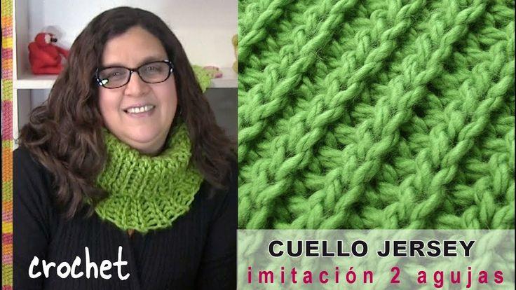 """Cuello """"jersey"""" elástico imitación 2 agujas tejido a CROCHET - Tejiendo Perú - YouTube"""