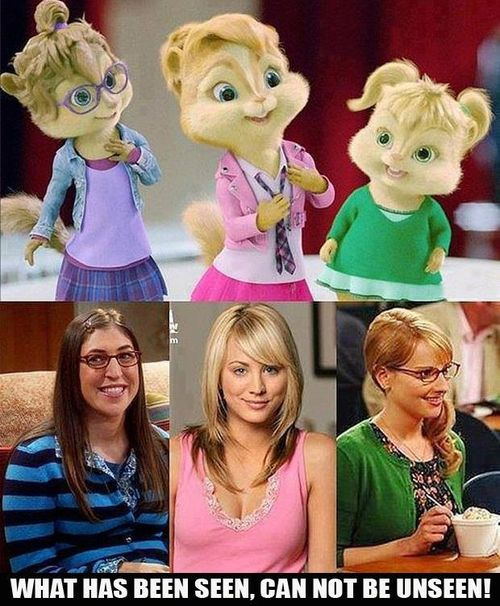 Chippettes vs. Amy, Penny, Bernadette form Big Bang Theory. Man, I can't tell the difference!