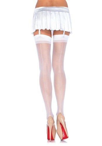 eede732db Leg Avenue Women s Sheer Back Seam Stockings Adult Hosiery Red - One  Size Sheer