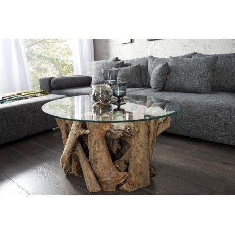 superbe table basse design coloris naturel sa structure est fabrique en bois flott de haute - Table Basse Bois Flotte