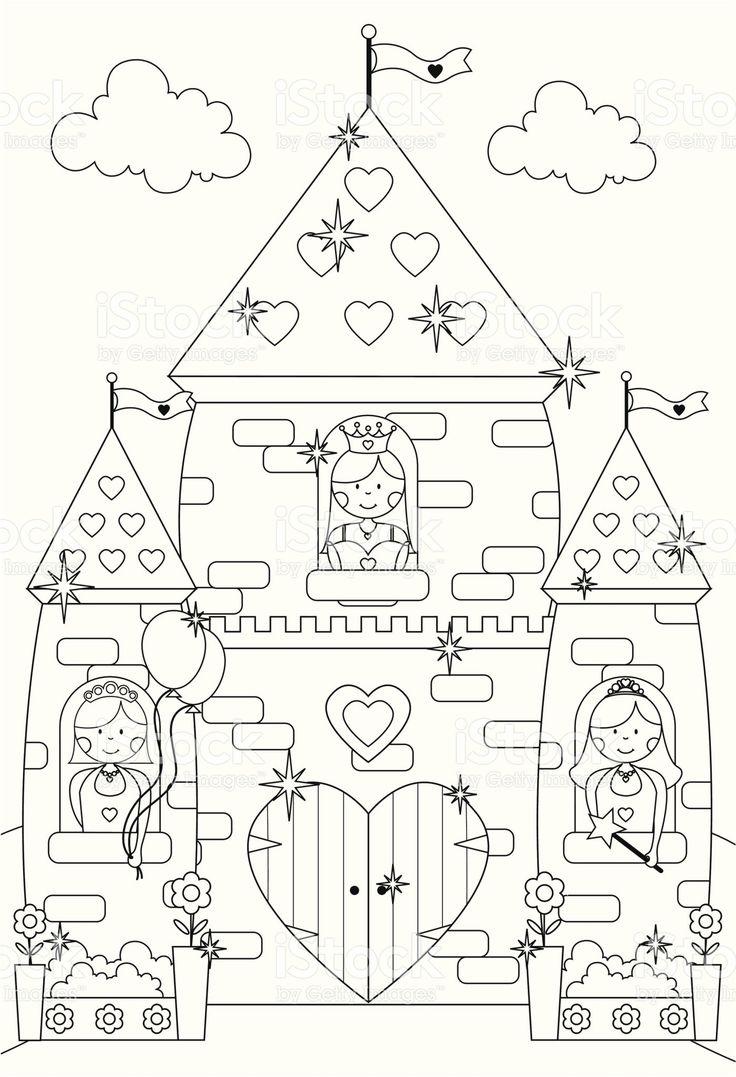 Castello di fiaba scintillante e Principessa caratteri di colore illustrazione royalty free