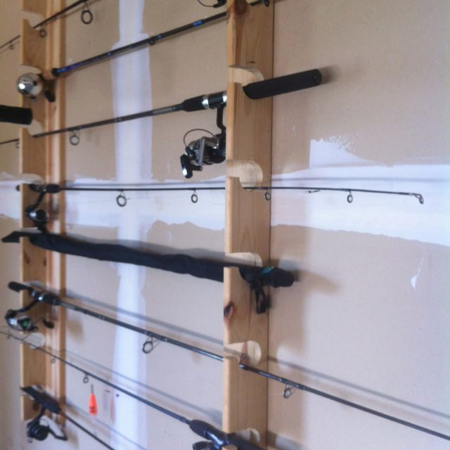 DIY fishing rod rack.  Built by yours truly ;) Keeps nice rods off the floor, frees up space, etc.  Really easy to build.