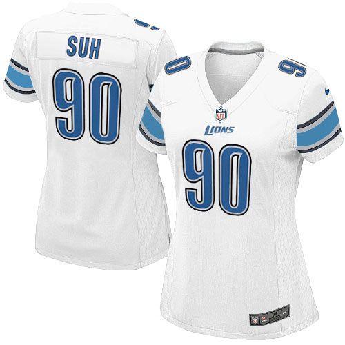 Women's Nike Detroit Lions #90 Ndamukong Suh Elite White Jersey $109.99