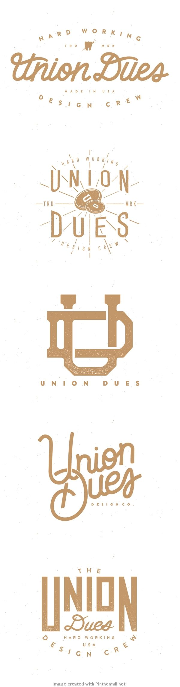 Logo type design hand lettering gold white vintage union dues