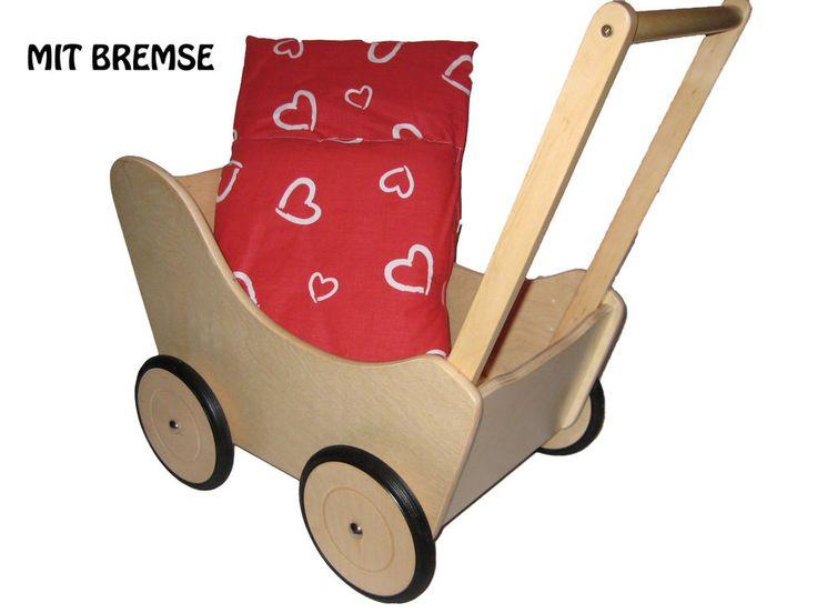 Lauflernwagen Holz Kippsicher Mit Bremse ~ Holz Lauflernwagen mit Bremse Puppenwagen Holzpuppenwagen Geschenkidee