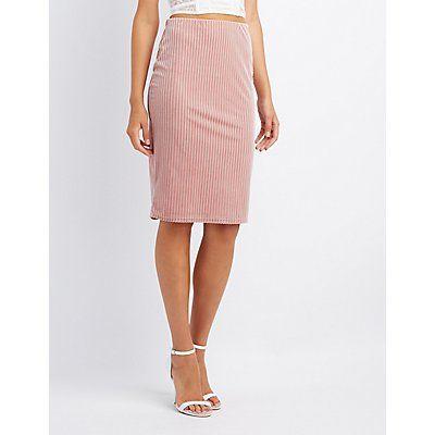 Pink Striped Velvet Pencil Skirt - Size XL