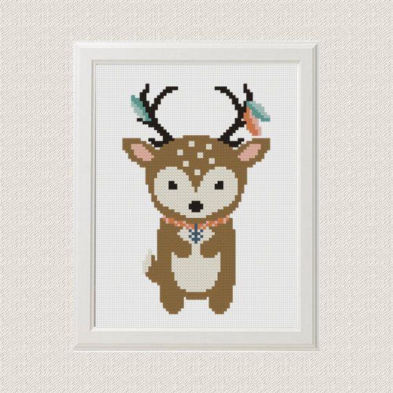 ours  Cross Stitch motif Boho point de croix par AnimalsCrossStitch