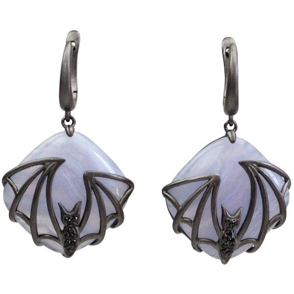 Bellus Domina - Bat Earrings (125 CAD) ❤ liked on Polyvore featuring jewelry, earrings, oxidized jewelry, oxidised jewellery, blue earrings, oxidized jewellery and animal print earrings