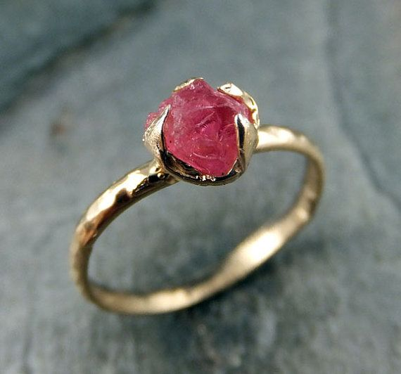 Raw Hot Pink Gemstone Ring Rough uncut Spinel Solid 14K Gold Ring One of a Kind Gemstone engagement Promise Statement Stacking Cocktail Ring
