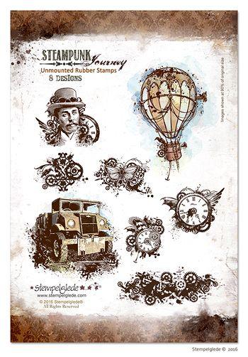 © Stempelglede® Steampunk Journey. Unmounted Rubber Stamp Sheet.  http://www.stempelglede.com/stemplersteampunkjourney_en.html