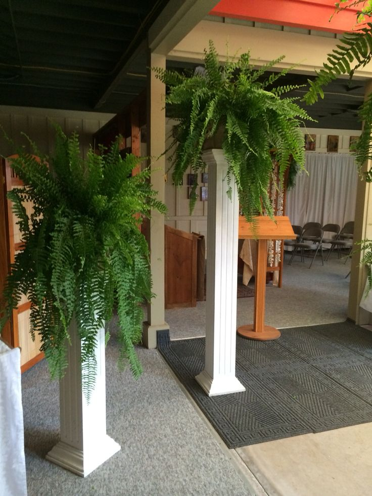 Hawaiian Wedding Fern On Columns Inside Church Wedding Columns Fern Wedding Church Wedding
