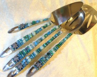 Beaded Serving Utensils Jordan River by DesertKippot on Etsy