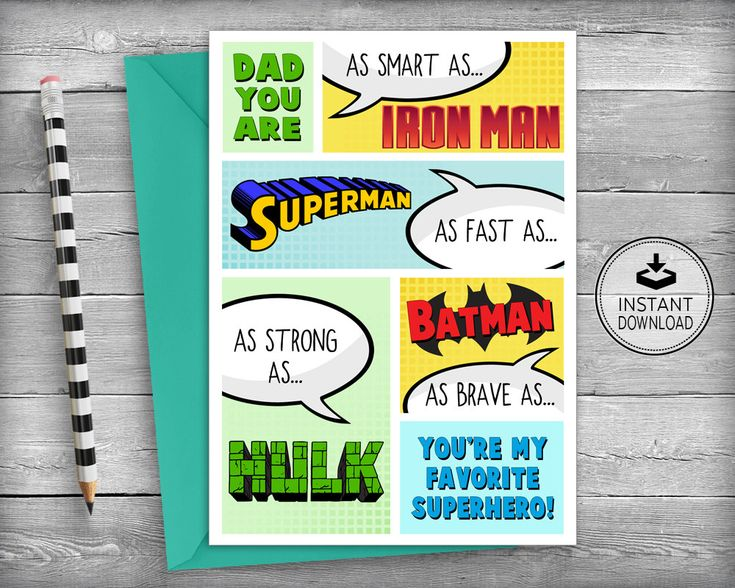 Fathers Day Cards Father S Day Superhero Birthday Etsy In 2021 Father Birthday Cards Dad Birthday Card Birthday Card Printable