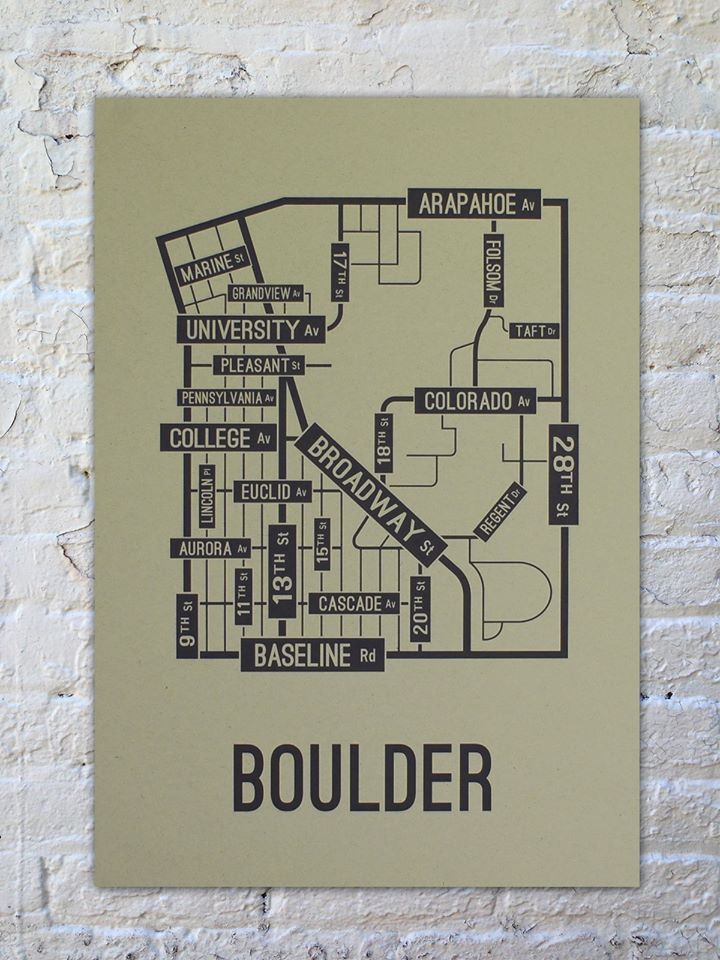 """SchoolStreetPosters.com The University of Colorado Boulder is a public research university located in Boulder, Colorado, United States. Buffaloes Boulder, Colorado street map poster printed with environment-friendly ink on premium 80# cover stock paper. Paper color is """"Oatmeal"""" and the ink is """"Black"""". Print is 13"""" x 19"""". Looks great in a dorm room or office. Unique gift ideas for college students and alumni. Graduation Gift College Graduation Boulder Colorado UC - Boulder"""