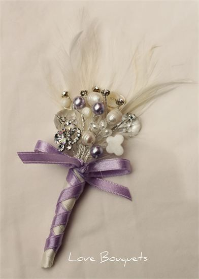 "boutonniere or bridesmaid or mother-of-the-bride feather & crystal corsage (or bouquet ""accent"" - can be made in many different colors - fresh water pearls, crystals, small beads & lots of sparkle"
