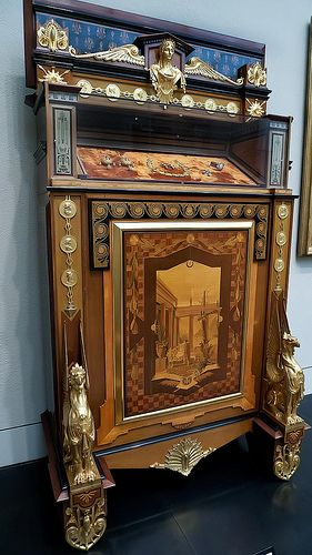 Dyed and Inlaid Jewelry Cabinet designed by E Brandely made by Charles-Guillaume Diehl French 1867 CE