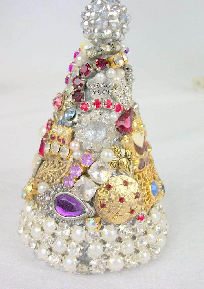Vintage Christmas RHINESTONE JEWELRY TREE Ornament Designer Made #DesignerMade