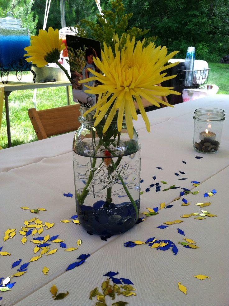 Graduation party mason jar flower goldfish centerpiece