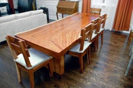 Solid Wood Natural Edge Slab Dining Table Furniture I