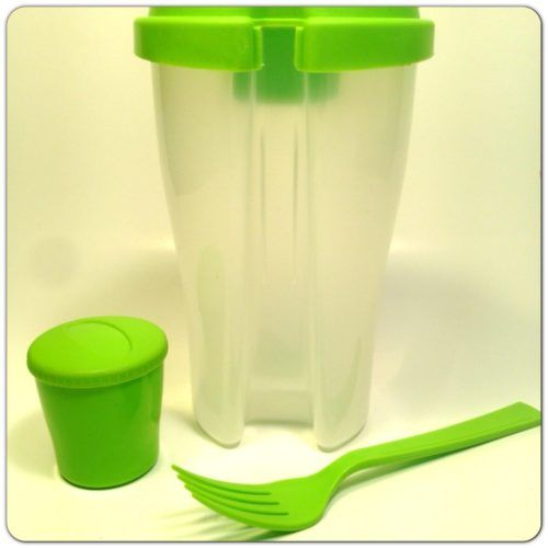 Salad On the Go Set includes cup, lid, Reusable fork and mini container (Great for Dressing) No More Soggy Salad – Fork and mini dressing container snap onto lid Dishwasher safe, Microwave Safe Can Be used to store many Different lunches Such as Cereal, Potato Salad,Tuna Fish, Egg Salad, Pasta Etc. Measures 7 inch Tall and up to 4 inch Across Fits most lunchbags.