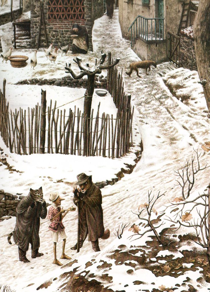 Pinocchio book illustration by Roberto Innocenti:
