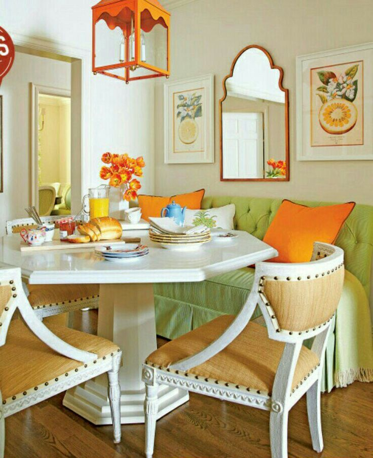 Kitchen Peninsula Banquette: Custom Octagonal, Quartz-topped Table Surrounded By Three Chairs & A Freestanding Banquette