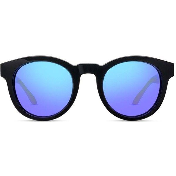GlassesUSA Harlow Black w/Khaki (non-prescription lenses) ($44) ❤ liked on Polyvore featuring accessories, eyewear, sunglasses, glasses, black round sunglasses, black lens sunglasses, black sunglasses, lens sunglasses and black glasses
