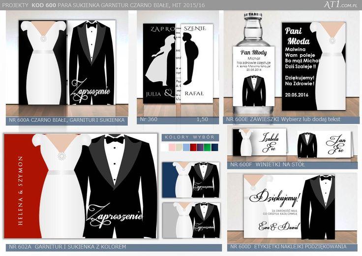 Projekty600 Zaproszenia czarno białe  garnitur Zawieszki Podziękowania etkietki winietki sukienka 360 para młoda otwierane na 3  cena za kod360 -1,50/szt cena za 600 a5 na 3 1,99zł kwadratowe 2,50zł/szt: