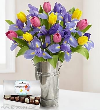 Mom's Fanciful Tulip and Iris Bouquet on Sproducts — Share products with friends