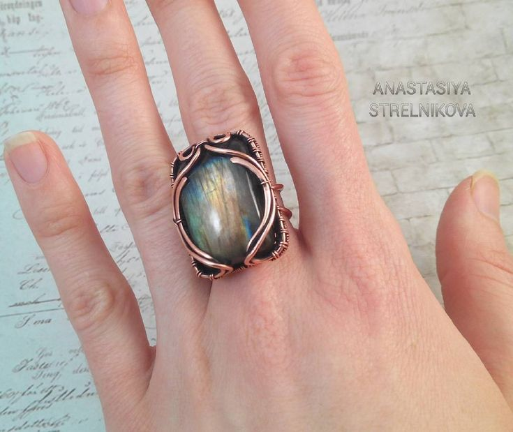 «Wire wrapped Ring with labradorite #wirework #copperring #wirewrapped…