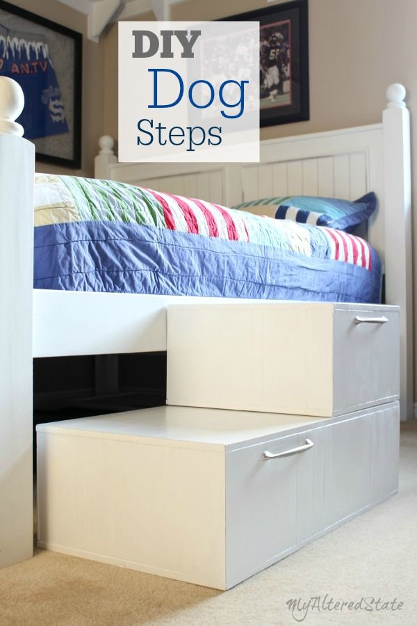 DIY Dog Steps. Help your little pets make it up to the bed with these DIY dog steps. #dogs #DIY #pets
