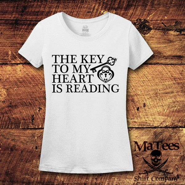 The Key to My Heart Is Reading Reading Shirt Book Nerd Book Nerd Book... ($15) ❤ liked on Polyvore featuring tops, t-shirts, red, women's clothing, tee-shirt, heart t shirt, red t shirt, red checkered shirt and unisex shirts