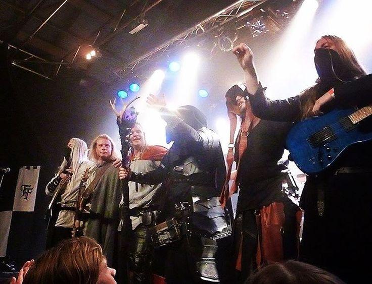 Twilight Force ⚫ Photo by Sarah Jane Coleby ⚫ Copenhagen 2016 ⚫ #TwilightForce #music #metal #concert #gig #musician #Chrileon #Lynd #DeAzsh #Born #Blackwald #Aerendir #singer #vocalist #frontman #guitarist #guitar #microphone #ninja #mask #armour #armor #microphone #bracers #tattoo #beard #hood #hymn #elf #tabard #playing #coat #earrings #leather #blond #longhair #show #photo #fantasy #magic #cosplay #larp #man #onstage #live #celebrity #band #artist #performing
