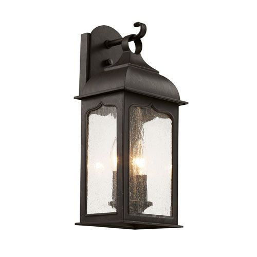Trans Globe Lighting Rubbed Oil Bronze Seeded Masonic 17 Inch Wall Lantern With Clear Gl