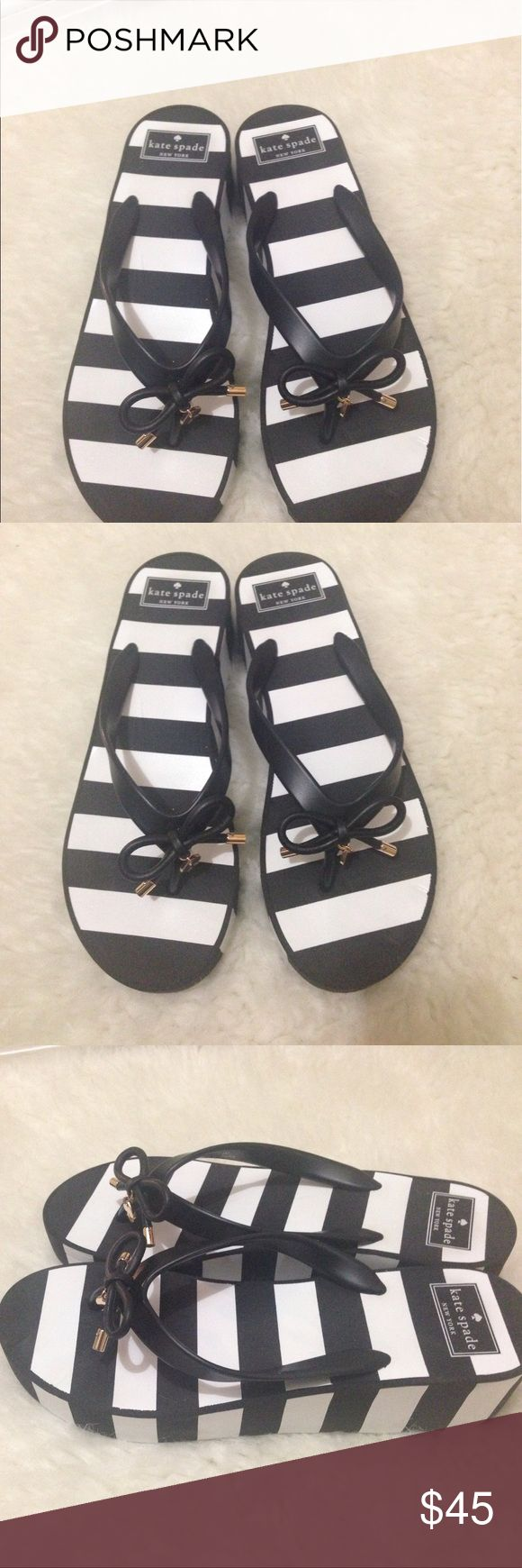 Kate Spade black and white stripe slippers Adorable Kate Spade black and white stripe slippers , lovely addition to any fun girl's closet 😍8 medium kate spade Shoes Slippers