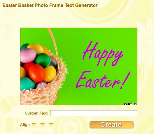 Grafic World: Easter Basket Photo Frame Text Generator