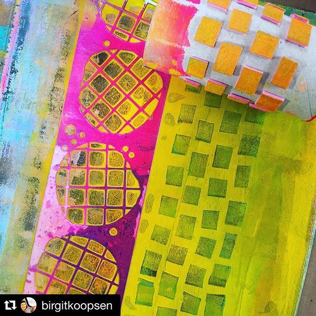 #Handmade foam stamp by @birgitkoopsen for #gelliprinting ---great idea!. ・・・ These colors on my gelli plate! Carabelle Studio stencil and handmade foam stamp... #gelliarts #gelliplate #carabellestudio #stencils #acrylicpaint #mixedmedia #artjournaling @gelliarts @carabellestudio