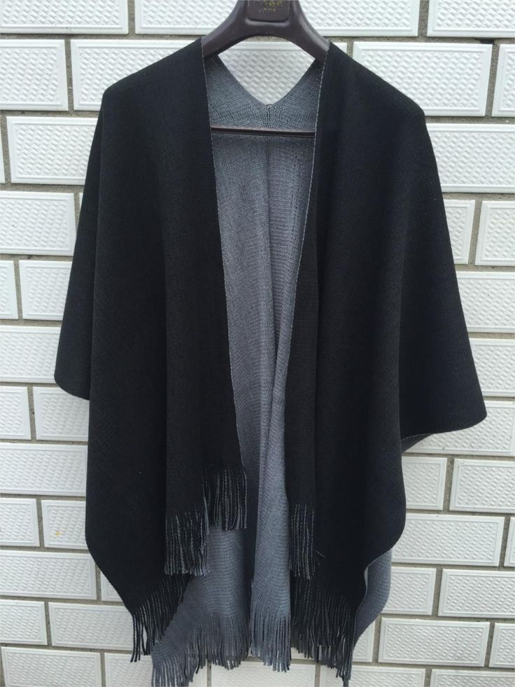 Over-sized Reversible Women Winter Knitted Cashmere Poncho Capes Shawl Cardigans