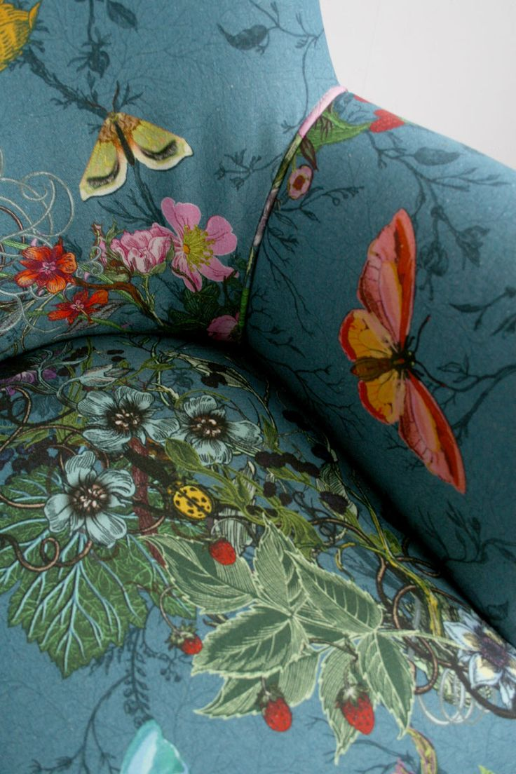 Armchairs For Living Room Green And Brown Accessories Bloomsbury Garden Fabric - Timorous Beasties | Design ...