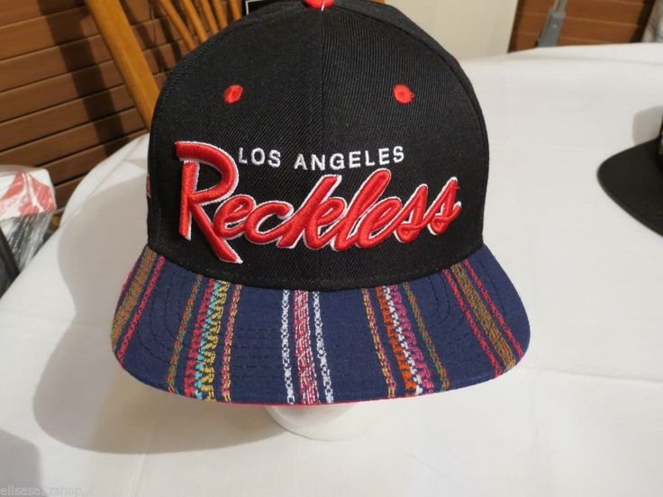 hat cap RARE Y&R Young and Reckless Los Angeles Men's black red blue stripe  NEW