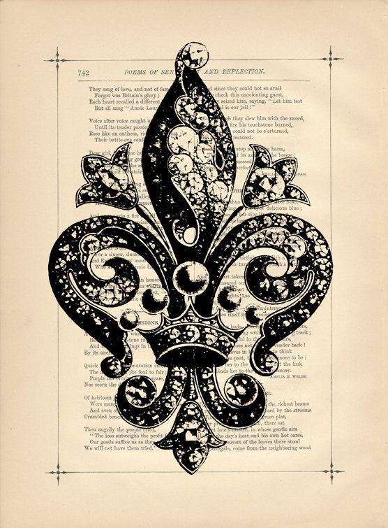 *Victorian Fleur De Lis Flower Vintage Art Print Mixed Media Dictionary book Print French Country Flea Market