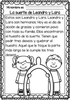 Easy-Reading-for-Reading-Comprehension-in-Spanish-November-Set-2108471 Teaching Resources - TeachersPayTeachers.com