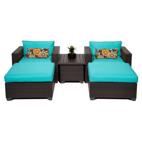 I don't like color but cute configuration for 10x10 area......$1000 TK Classics Belle Wicker 5 Piece Patio Conversation Set with Ottoman and 2 Sets of Cushion Covers