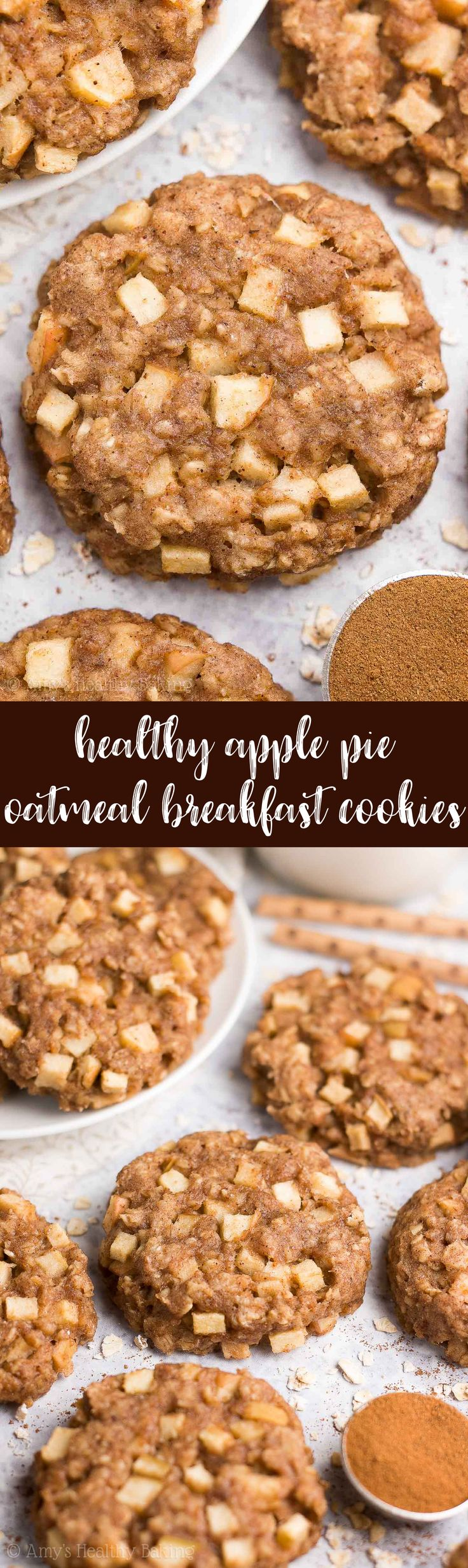 {HEALTHY!} Apple Pie Oatmeal Breakfast Cookies -- only 71 calories! Soft, chewy & so easy to make! They're perfect for kids & quick grab-and-go breakfasts! (And they freeze well too!) AD #healthy #recipe #breakfast #oatmealcookies