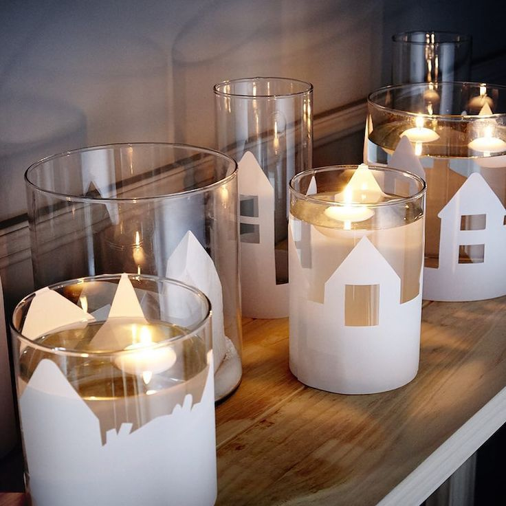 The IKEA 365 range of glassware are a great way to create personalised gifts and decorations. All you have to do is cut out your Christmas landscape and fix to the outside of the glass. So simple! #CraftyChristmas #IKEAChristmas #arts #design #presents #pinterest by ikeaie