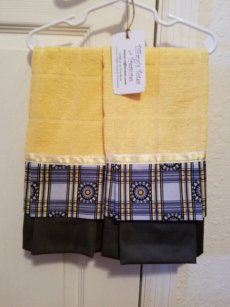Set of Two (2) Embellished Towels - Yellow towel with Gray/White Fabric (15x25) by tiffstotes on Etsy