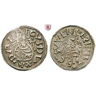 Böhmen, Königreich, Oldrich, Denar o.J., vz: Oldrich 1012-1034. Denar o.J. Prag. Brustbild mit dreiteiliger Fahne und Kreuz von… #coins