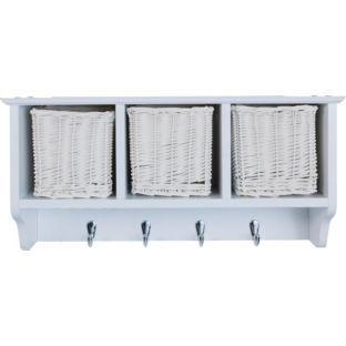 Buy Wooden 3 Basket Storage Unit With 4 Coat Hooks   White At Argos.co