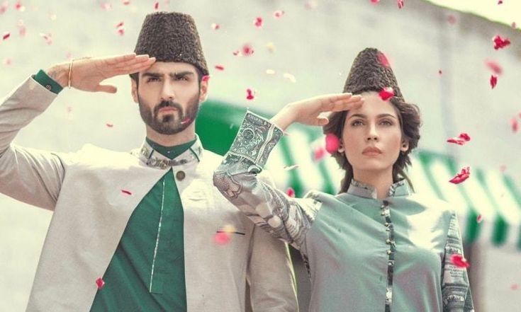 "Models wearing ""Pakistan Independence Day"" themed attire (Jinnah caps, Sherwani & Shalwar qameez) - 14 August, 2015"